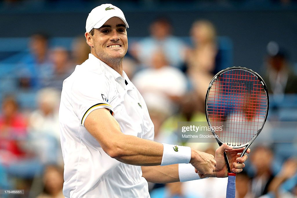 <a gi-track='captionPersonalityLinkClicked' href=/galleries/search?phrase=John+Isner+-+Tennis+Player&family=editorial&specificpeople=4439464 ng-click='$event.stopPropagation()'>John Isner</a> celebrates match point against Dmitry Tursunov of Russia during the semifinals of the Citi Open at the William H.G. FitzGerald Tennis Center on August 3, 2013 in Washington, DC.