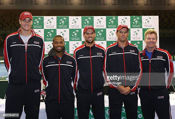 John Isner Donald Young Mike Bryan Bob Bryan and Captain of the United States Jim Courier pose ahead of the Davis Cup match between GB and USA at...