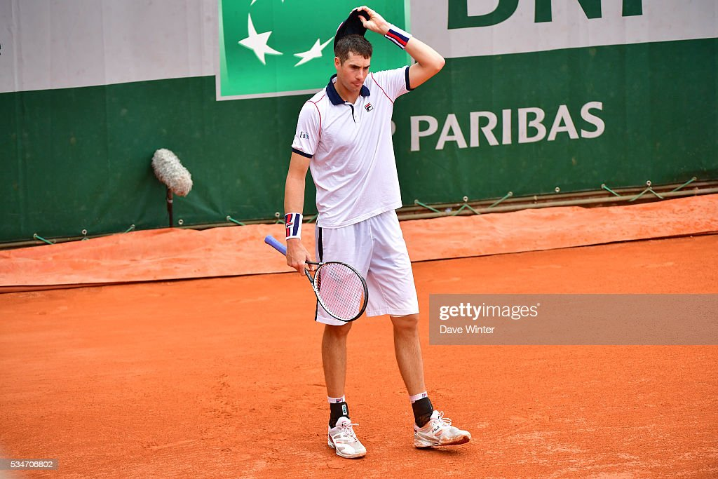 John Isner during the Men's Singles third round on day six of the French Open 2016 at Roland Garros on May 27, 2016 in Paris, France.