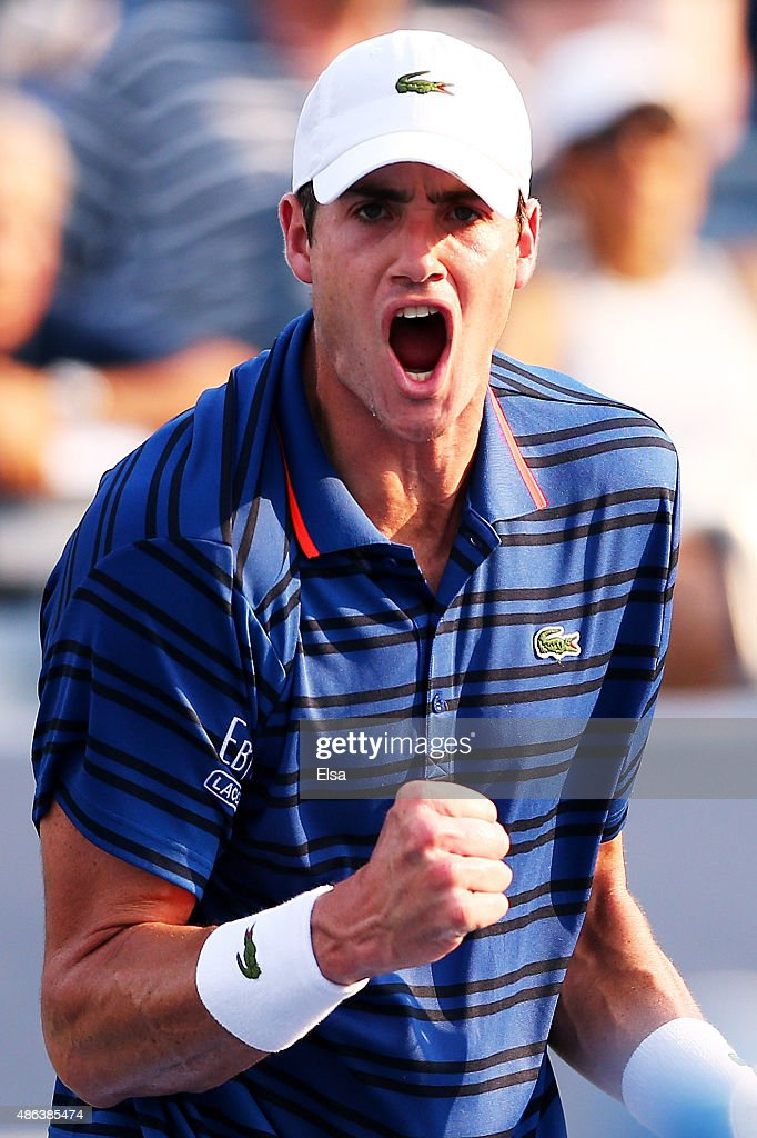 <a gi-track='captionPersonalityLinkClicked' href=/galleries/search?phrase=John+Isner&family=editorial&specificpeople=4439464 ng-click='$event.stopPropagation()'>John Isner</a> of the United States celebrates after defeating Mikhail Youzhny of Russian during their Men's Singles Second Round match on Day Four of the 2015 US Open at the USTA Billie Jean King National Tennis Center on September 3, 2015 in the Flushing neighborhood of the Queens borough of New York City.