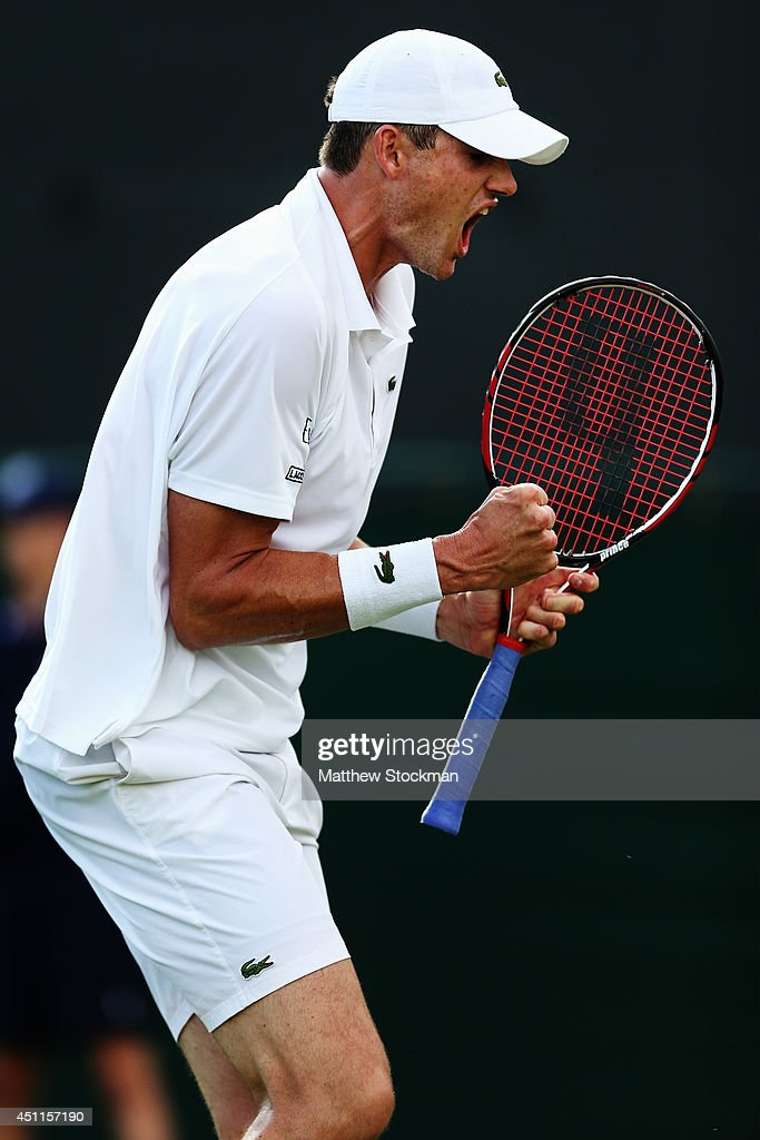 <a gi-track='captionPersonalityLinkClicked' href=/galleries/search?phrase=John+Isner+-+Tennis+Player&family=editorial&specificpeople=4439464 ng-click='$event.stopPropagation()'>John Isner</a> of the United States celebrates after winning his Gentlemen's Singles first round match against Daniel Smethurst of Great Britain on day two of the Wimbledon Lawn Tennis Championships at the All England Lawn Tennis and Croquet Club at Wimbledon on June 24, 2014 in London, England.