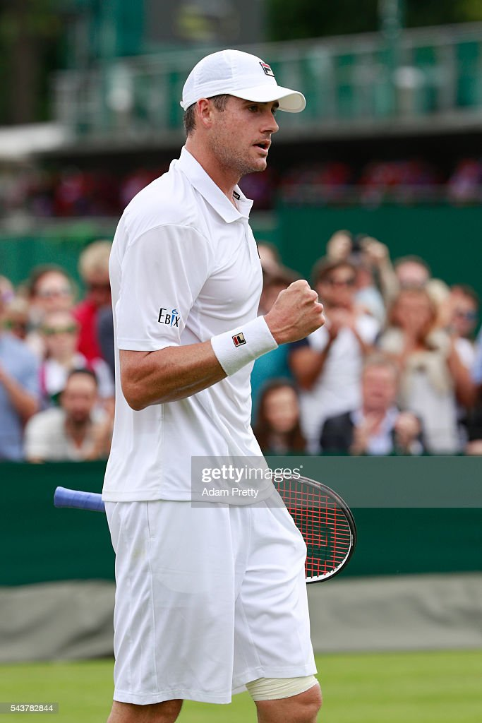 <a gi-track='captionPersonalityLinkClicked' href=/galleries/search?phrase=John+Isner+-+Tennis+Player&family=editorial&specificpeople=4439464 ng-click='$event.stopPropagation()'>John Isner</a> of The United States celebrates victory during the Men's Singles first round match Marcos Baghadatis of Cyprus on day four of the Wimbledon Lawn Tennis Championships at the All England Lawn Tennis and Croquet Club on June 30, 2016 in London, England.