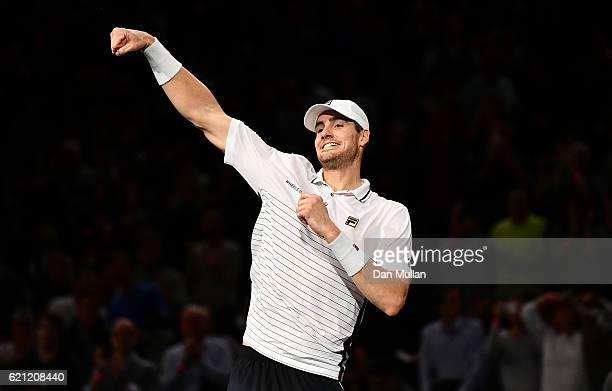 John Isner of the United States celebrates victory during the Mens Singles semi final match against Marin Cilic of Croatia on day six of the BNP...