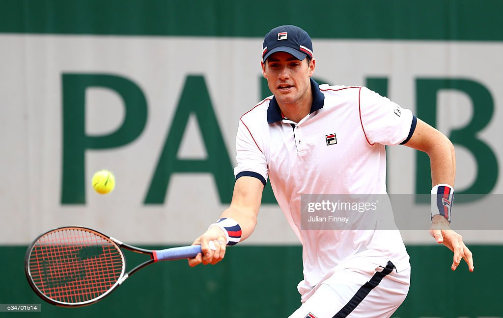 <a gi-track='captionPersonalityLinkClicked' href=/galleries/search?phrase=John+Isner&family=editorial&specificpeople=4439464 ng-click='$event.stopPropagation()'>John Isner</a> of the United States hits a forehand during the Men's Singles third round match against Teymuraz Gabashvili of Russia on day six of the 2016 French Open at Roland Garros on May 27, 2016 in Paris, France.