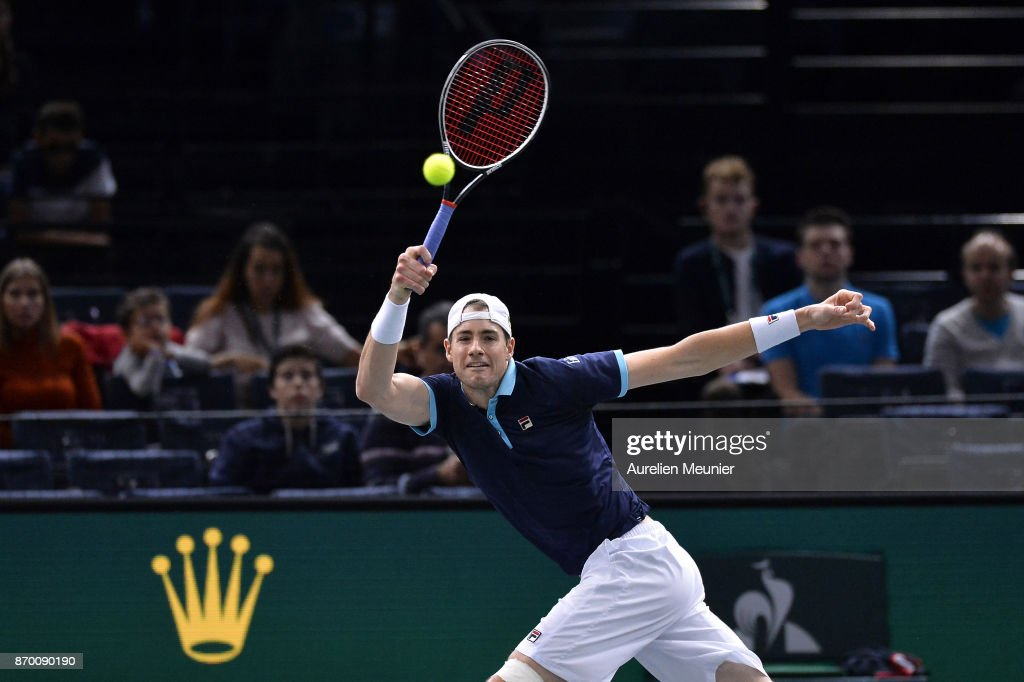 John Isner of the United States of America plays a forehand in the men's singles semi final match against Filip Krajinovic of Serbia during day six of the Rolex Paris Masters at Palais Omnisports de Bercy on November 4, 2017 in Paris, France.