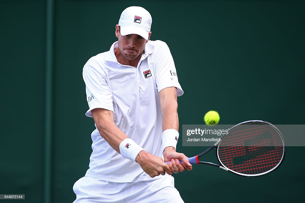 <a gi-track='captionPersonalityLinkClicked' href=/galleries/search?phrase=John+Isner+-+Tennis+Player&family=editorial&specificpeople=4439464 ng-click='$event.stopPropagation()'>John Isner</a> of The United States plays a backhand during the Men's Singles second round match against Matthew Barton of Australia on day five of the Wimbledon Lawn Tennis Championships at the All England Lawn Tennis and Croquet Club on July 1, 2016 in London, England.