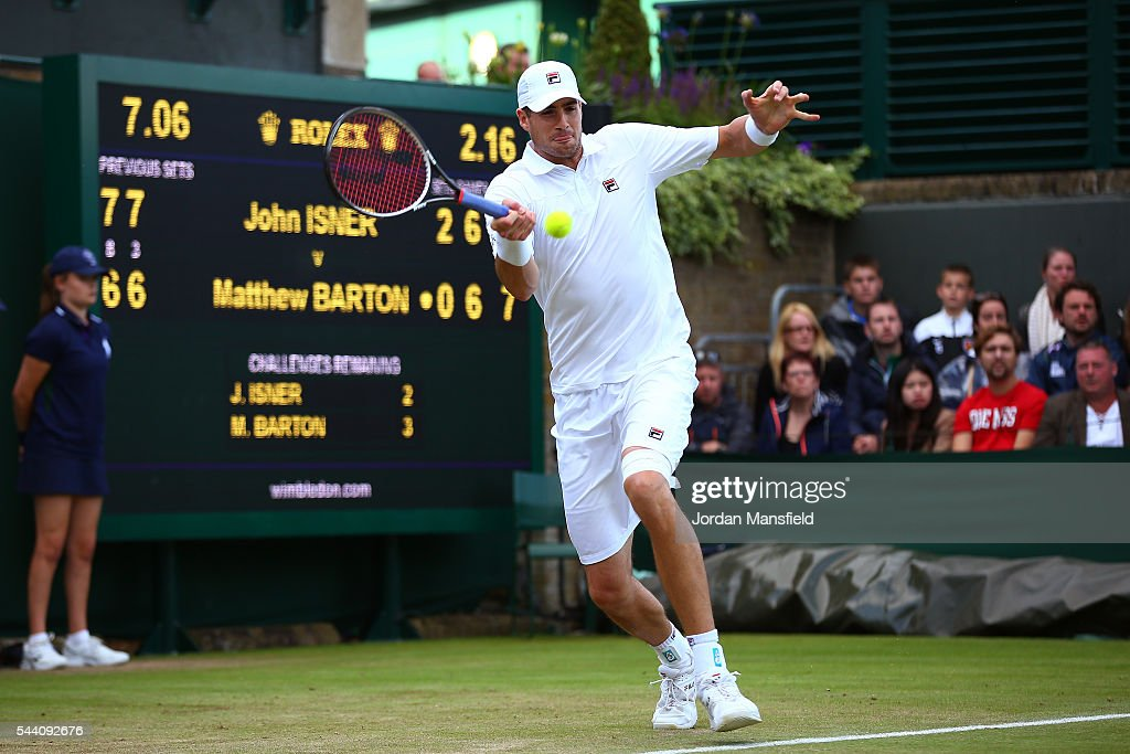John Isner of The United States plays a forehand during the Men's Singles second round match against Matthew Barton of Australia on day five of the Wimbledon Lawn Tennis Championships at the All England Lawn Tennis and Croquet Club on July 1, 2016 in London, England.