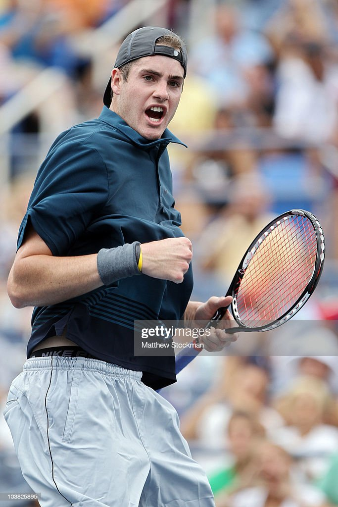 <a gi-track='captionPersonalityLinkClicked' href=/galleries/search?phrase=John+Isner+-+Tennis+Player&family=editorial&specificpeople=4439464 ng-click='$event.stopPropagation()'>John Isner</a> of the United States reacts after defeating Marco Chiudinelli of Switzerland during his men's singles match on day five of the 2010 U.S. Open at the USTA Billie Jean King National Tennis Center on September 3, 2010 in the Flushing neighborhood of the Queens borough of New York City.