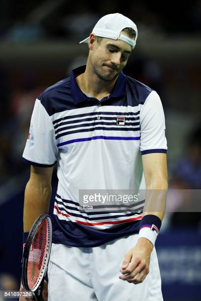 John Isner of the United States reacts after loosing his third round match against Mischa Zverev of Germany on Day Five of the 2017 US Open at the...
