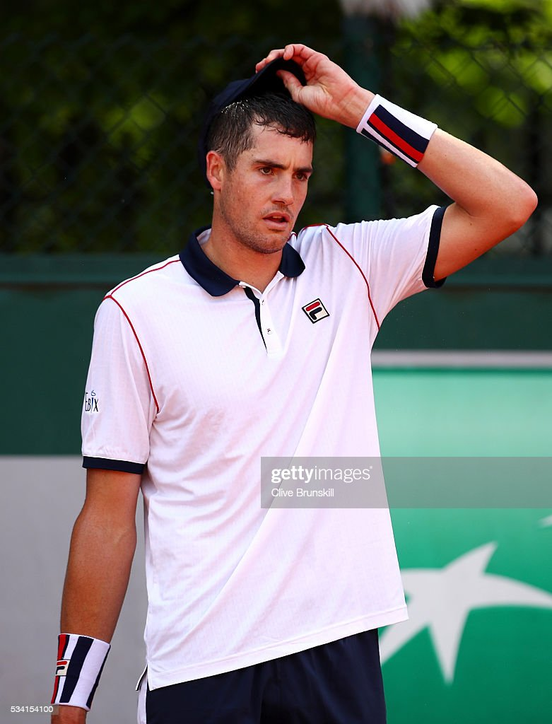 <a gi-track='captionPersonalityLinkClicked' href=/galleries/search?phrase=John+Isner&family=editorial&specificpeople=4439464 ng-click='$event.stopPropagation()'>John Isner</a> of the United States reacts during the Men's Singles second round match against Kyle Edmund of Great Britain on day four of the 2016 French Open at Roland Garros on May 25, 2016 in Paris, France.