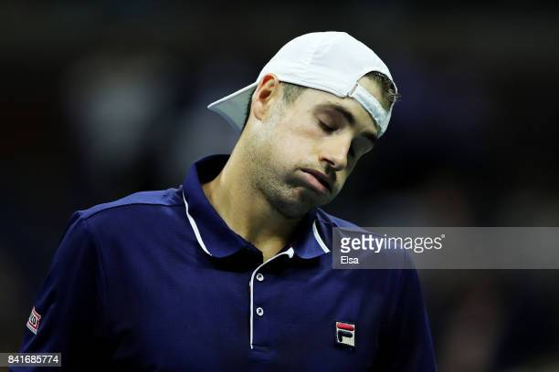 John Isner of the United States reacts in his third round match against Mischa Zverev of Germany on Day Five of the 2017 US Open at the USTA Billie...