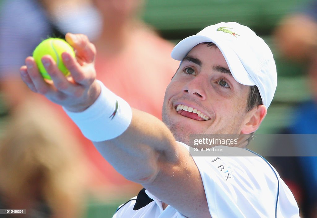 <a gi-track='captionPersonalityLinkClicked' href=/galleries/search?phrase=John+Isner+-+Tennis+Player&family=editorial&specificpeople=4439464 ng-click='$event.stopPropagation()'>John Isner</a> of the United States serves during his match against James Ward of Great Britain during day three of the 2015 Priceline Pharmacy Classic at Kooyong on January 15, 2015 in Melbourne, Australia.