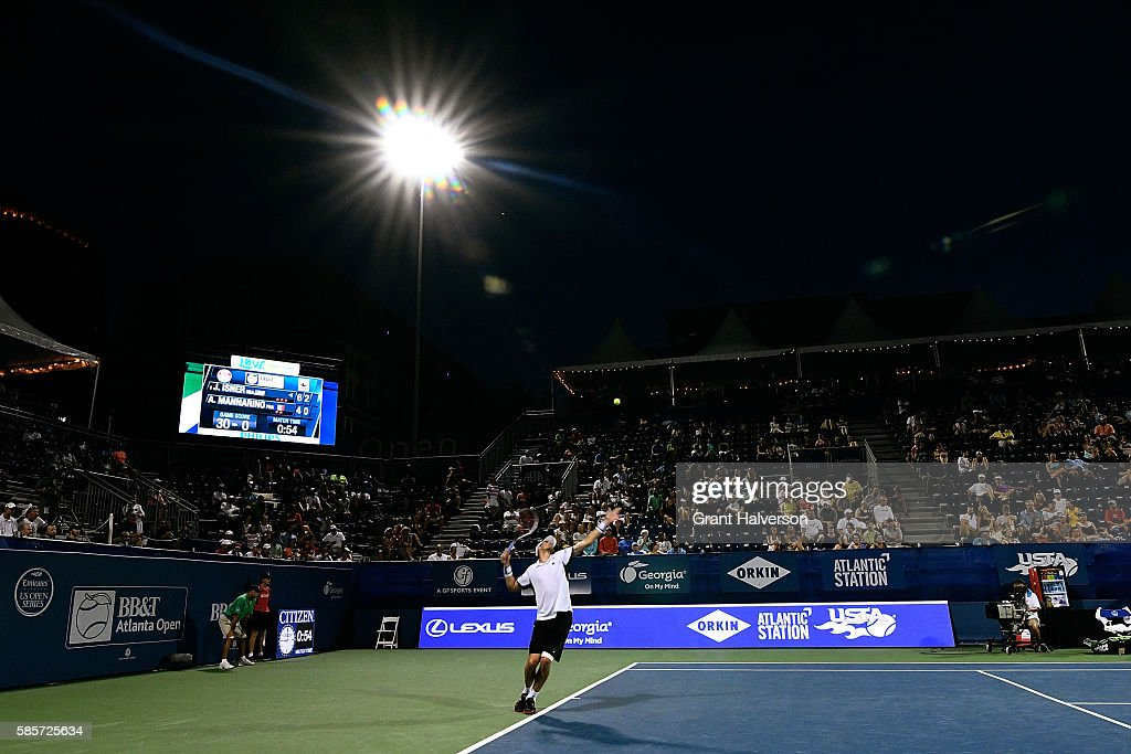John Isner of the Unites States serves to Adrian Mannarino of France during the BBT Atlanta Open at Atlantic Station on August 3 2016 in Atlanta...