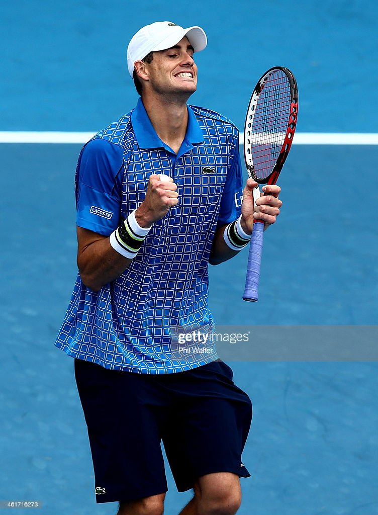 <a gi-track='captionPersonalityLinkClicked' href=/galleries/search?phrase=John+Isner+-+Tennis+Player&family=editorial&specificpeople=4439464 ng-click='$event.stopPropagation()'>John Isner</a> of the USA celebrates his win over Yen-Hsun Lu of Chinese Tapei during the final of the Heineken Open at the ASB Tennis Centre on January 11, 2014 in Auckland, New Zealand.