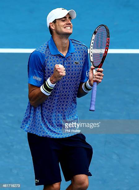 John Isner of the USA celebrates his win over YenHsun Lu of Chinese Tapei during the final of the Heineken Open at the ASB Tennis Centre on January...