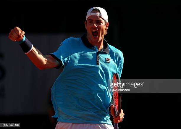 John Isner of The USA celebrates winning a point during the first round match against Jordan Thompson of Australia on day three of the 2017 French...