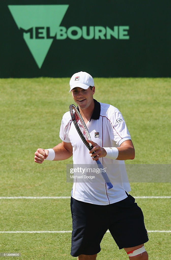<a gi-track='captionPersonalityLinkClicked' href=/galleries/search?phrase=John+Isner&family=editorial&specificpeople=4439464 ng-click='$event.stopPropagation()'>John Isner</a> of the USA celebrates winning match point in his match against Bernard Tomic of Australia during the Davis Cup tie between Australia and the United States at Kooyong on March 6, 2016 in Melbourne, Australia.