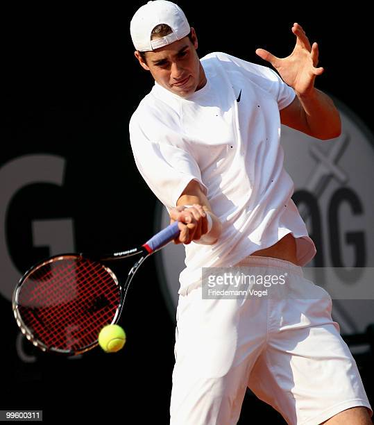 John Isner of the USA in action during his match against Lleyton Hewitt of Australia during day one of the ARAG World Team Cup at the Rochusclub on...