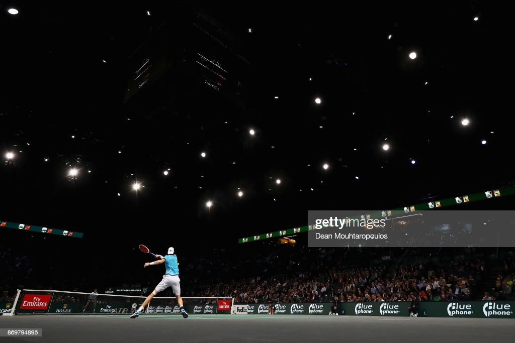John Isner of the USA plays a forehand against Juan Martin del Potro of Argentina during Day 5 of the Rolex Paris Masters held at the AccorHotels Arena on November 3, 2017 in Paris, France.