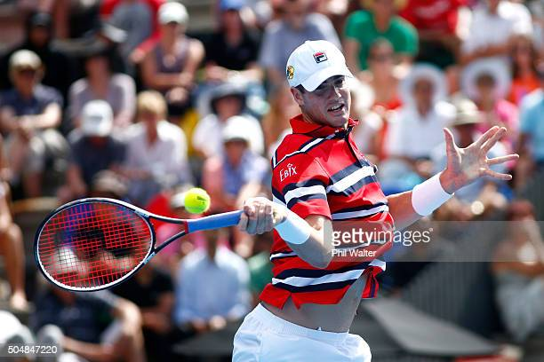 John Isner of the USA plays a forehand against Roberto Bautista Agut of Spain during the 2016 ASB Classic at the ASB Tennis Arena on January 14 2016...