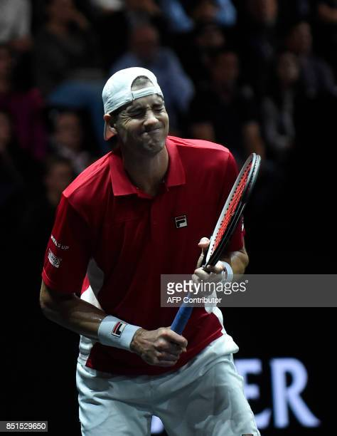 John Isner of United States and Team World reacts during his match against Austrian Dominic Thiem of Team Europa during the first day of the Laver...