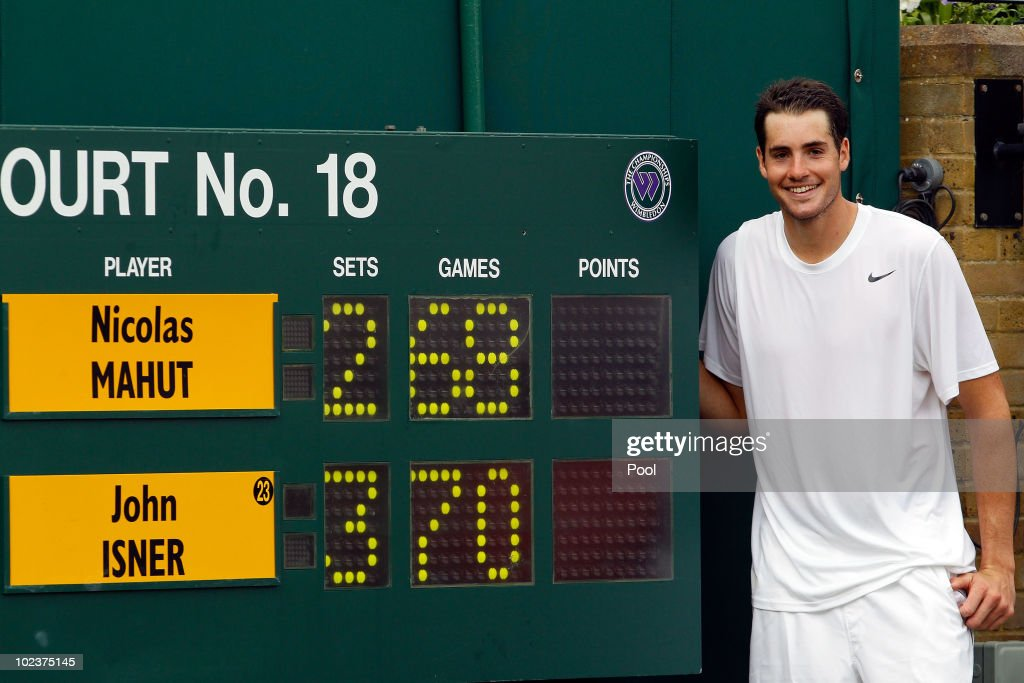 <a gi-track='captionPersonalityLinkClicked' href=/galleries/search?phrase=John+Isner&family=editorial&specificpeople=4439464 ng-click='$event.stopPropagation()'>John Isner</a> of USA celebrates winning on the third day of his first round match against Nicolas Mahut of France on Day Four of the Wimbledon Lawn Tennis Championships at the All England Lawn Tennis and Croquet Club on June 24, 2010 in London, England. The match is the longest in Grand Slam history.