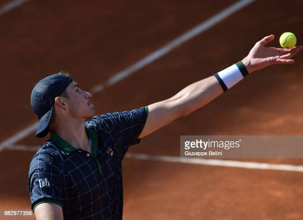 John Isner of USA in action during the match between John Isner of USA and Albert RamosVinolas of Spain during The Internazionali BNL d'Italia 2017...
