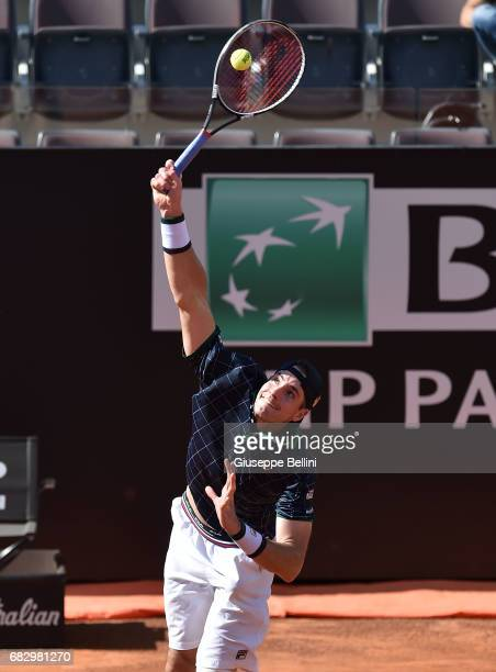 John Isner of USA in action during the match between John Isner of USA and Albert RamosVinolas of during The Internazionali BNL d'Italia 2017 Day Two...
