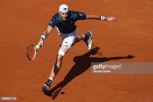 John Isner of USA in action during the men's semifinal match against Alexander Zverev of Germany on Day Seven of the Internazionali BNL d'Italia 2017...