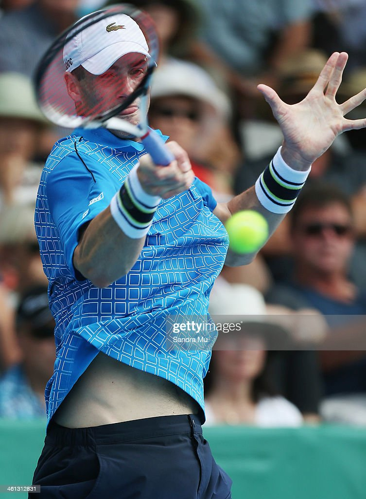 <a gi-track='captionPersonalityLinkClicked' href=/galleries/search?phrase=John+Isner&family=editorial&specificpeople=4439464 ng-click='$event.stopPropagation()'>John Isner</a> of USA plays a forehand during his match against Lukas Lacko of Slovakia on day three of the Heineken Open at ASB Tennis Centre on January 8, 2014 in Auckland, New Zealand.