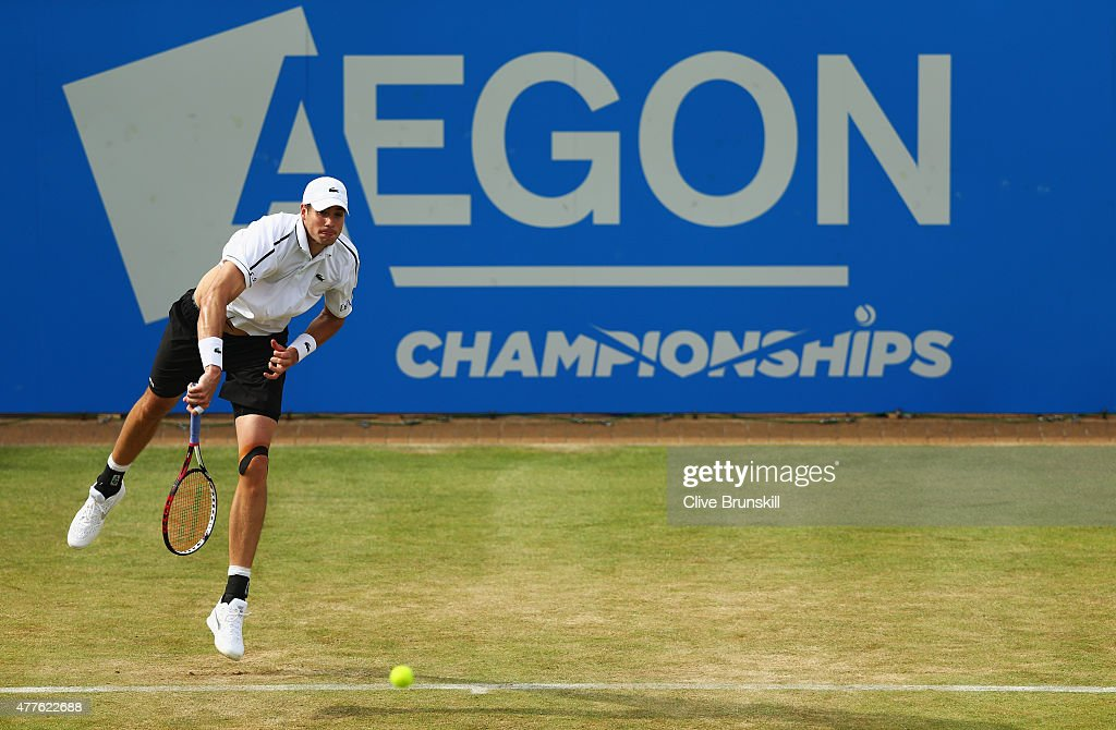 John Isner of USA serves in his men's singles second round match against Feliciano Lopez of Spain during day four of the Aegon Championships at...