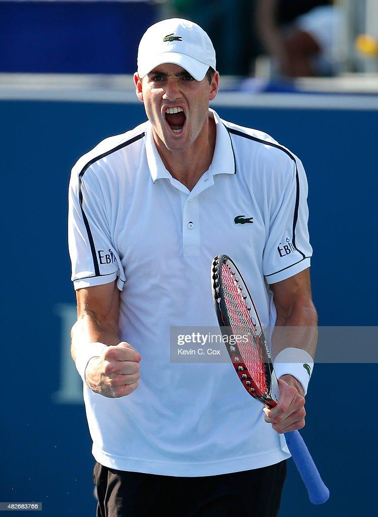 John Isner reacts after defeating Denis Kudla during the BB&T Atlanta Open at Atlantic Station on August 1, 2015 in Atlanta, Georgia.