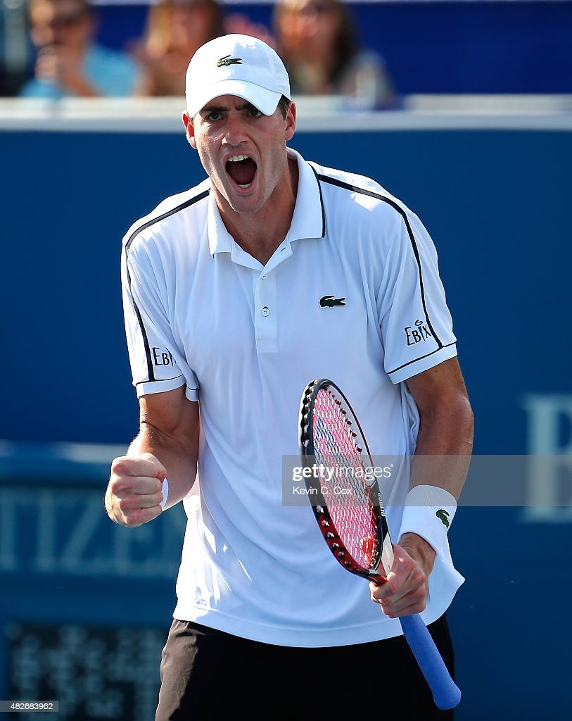 <a gi-track='captionPersonalityLinkClicked' href=/galleries/search?phrase=John+Isner&family=editorial&specificpeople=4439464 ng-click='$event.stopPropagation()'>John Isner</a> reacts after defeating Denis Kudla during the BB&T Atlanta Open at Atlantic Station on August 1, 2015 in Atlanta, Georgia.