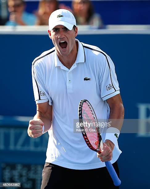 John Isner reacts after defeating Denis Kudla during the BBT Atlanta Open at Atlantic Station on August 1 2015 in Atlanta Georgia