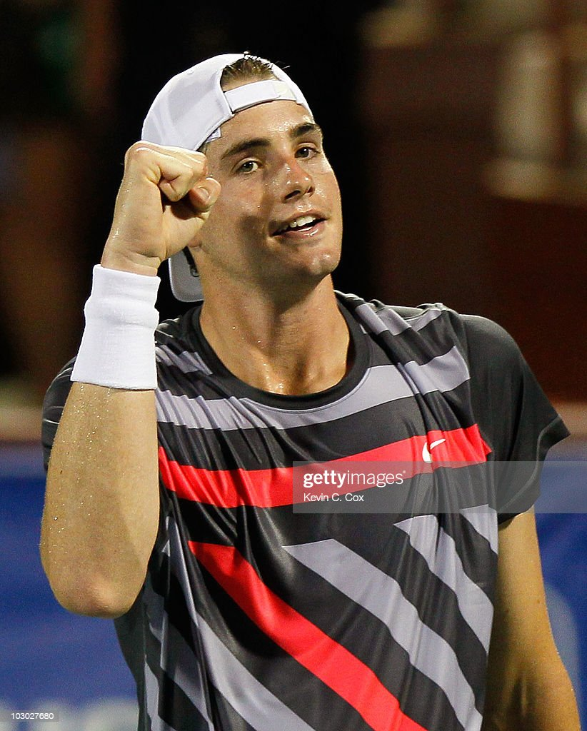 John Isner reacts after defeating Gilles Muller of Luxembourg in the third set tiebreaker on Day 3 of the Atlanta Tennis Championships at the Atlanta Athletic Club on July 21, 2010 in Atlanta, Georgia.
