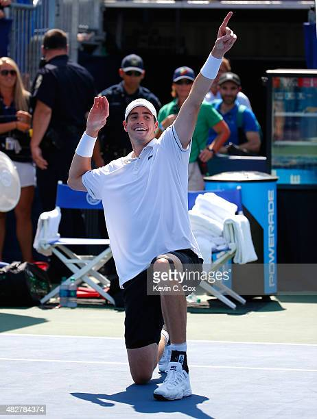 John Isner reacts after defeating Marcos Baghdatis of Cyprus during the BBT Atlanta Open Final at Atlantic Station on August 2 2015 in Atlanta Georgia