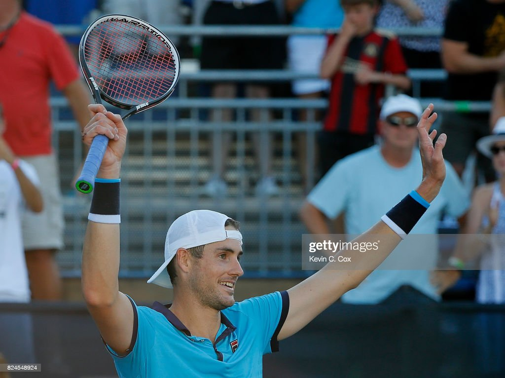 John Isner reacts after defeating Ryan Harrison during the BB&T Atlanta Open at Atlantic Station on July 30, 2017 in Atlanta, Georgia.
