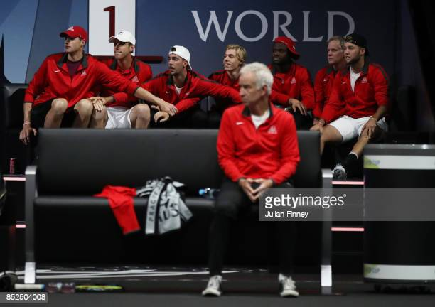 John Isner Sam Querrey Thanasi Kokkinakis Denis Shapovalov Frances Tiafoe Patrick Mcenroe and Jack Sock of Team World watch Nick Kyrgios of Team...