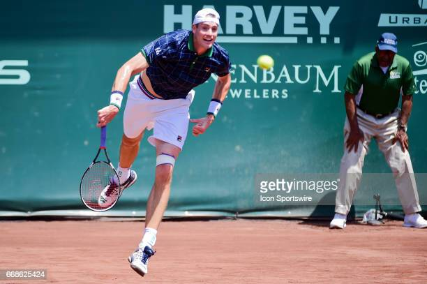 John Isner serves during the first set during the US Men's Clay Court Championships on April 13 2017 at River Oaks Country Club in Houston Texas