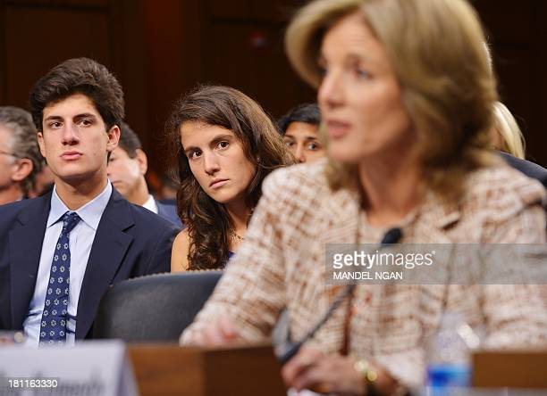 John 'Jack' Schlossberg and Tatiana Schlossberg watch their mother Caroline Kennedy testify before the Senate Foreign Relations Committee on her...