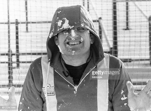 John Jackson goalkeeper raises a smile despite the arctic conditions at Brisbane Road Leyton Orient January 1979
