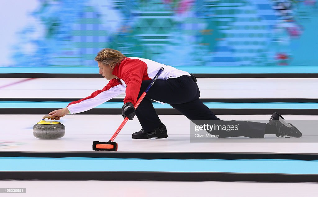<a gi-track='captionPersonalityLinkClicked' href=/galleries/search?phrase=John+Jahr+-+Curler&family=editorial&specificpeople=12455207 ng-click='$event.stopPropagation()'>John Jahr</a> of Germany in action during curling training on day 2 of the Sochi 2014 Winter Olympics at the Ice Cube Curling Centre on February 9, 2014 in Sochi, Russia.