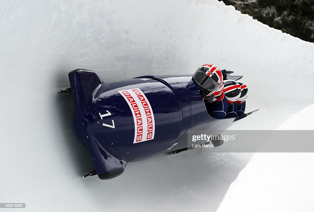John James Jackson, Stuart Benson, Bruce Tasker and Joel Fearon of Great Britain compete during the Four Men Bobsleigh heat one of the IBSF Bob & Skeleton World Championship at Olympia Bob Run on February 2, 2013 in St Moritz, Switzerland.