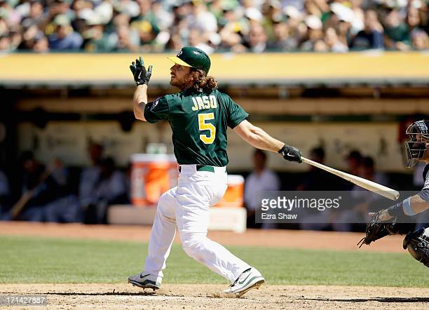 John Jaso of the Oakland Athletics bats against the Seattle Mariners at Oco Coliseum on June 16 2013 in Oakland California