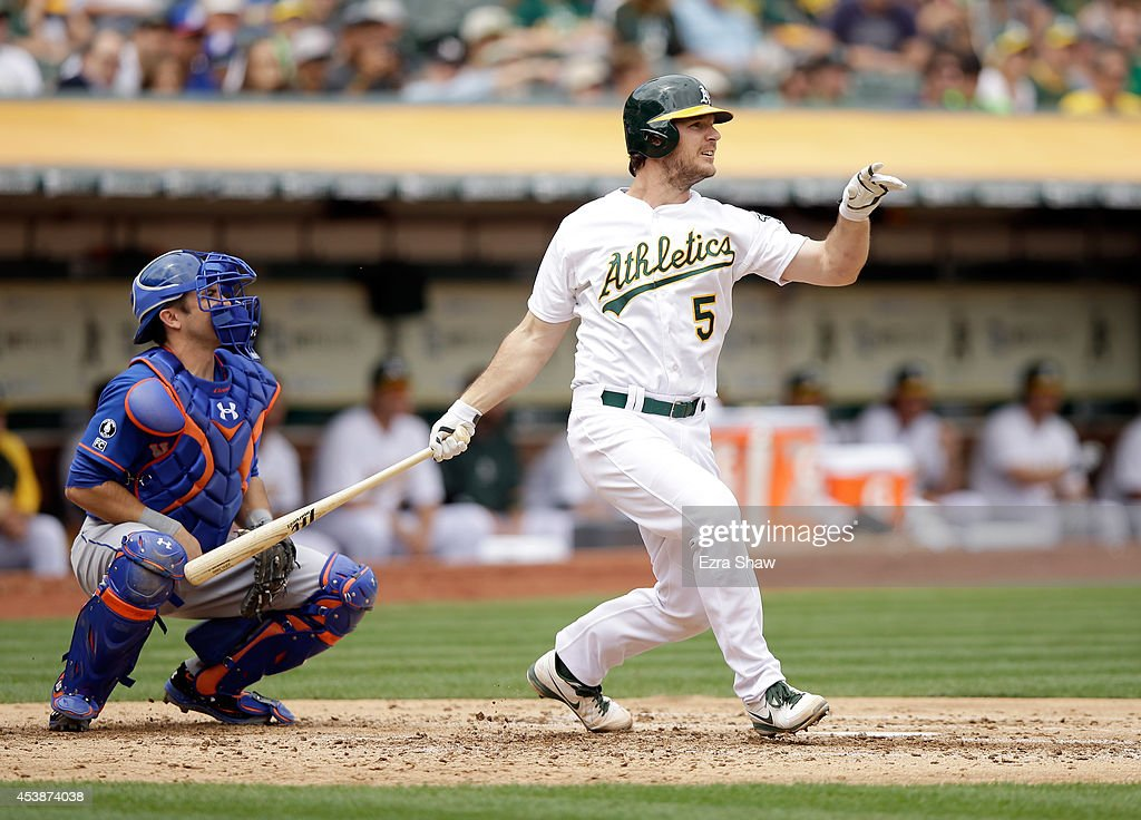 <a gi-track='captionPersonalityLinkClicked' href=/galleries/search?phrase=John+Jaso&family=editorial&specificpeople=4951282 ng-click='$event.stopPropagation()'>John Jaso</a> #5 of the Oakland Athletics hits a double that scored Coco Crisp #4 in the third inning of their game against the New York Mets at O.co Coliseum on August 20, 2014 in Oakland, California.