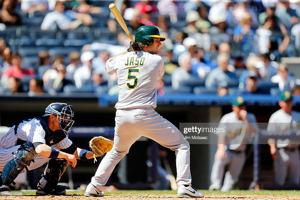 John Jaso #5 of the Oakland Athletics in action against the New York Yankees at Yankee Stadium on May 4, 2013 in the Bronx borough of New York City. The Yankees defeated the A's 4-2.
