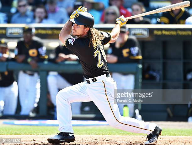 John Jaso of the Pittsburgh Pirates bats during a spring training game against the Minnesota Twins at McKechnie Field on March 4 2016 in Bradenton...