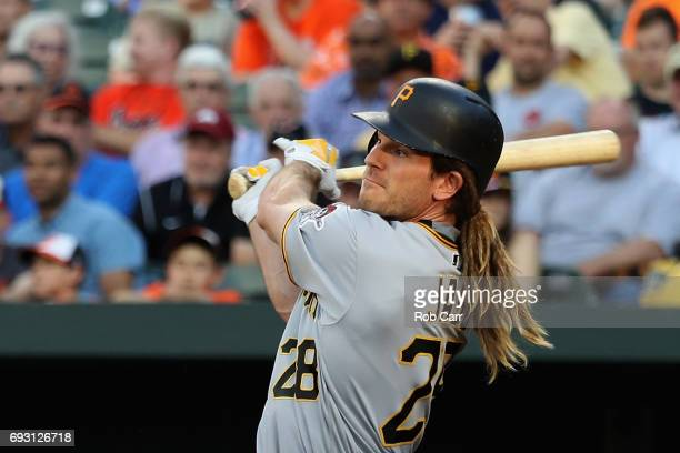 John Jaso of the Pittsburgh Pirates hits a RBI double against the Baltimore Orioles in the second inning at Oriole Park at Camden Yards on June 6...