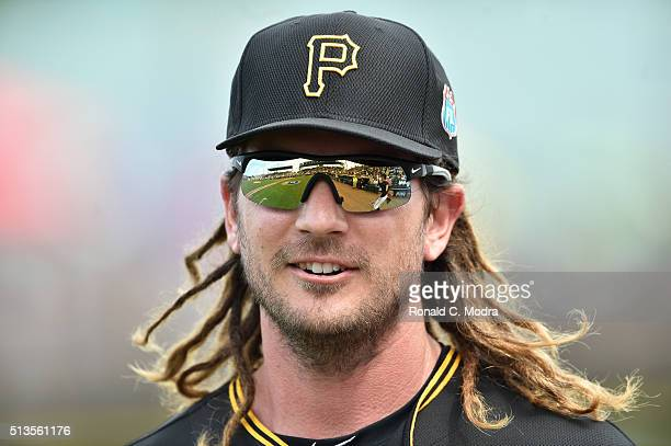 John Jaso of the Pittsburgh Pirates looks on before a spring training game against the Detroit Tigers at McKechnie Field on March 2 2016 in Bradenton...