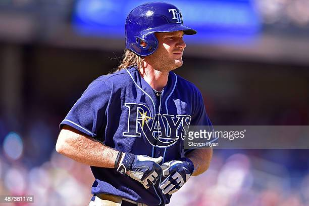 John Jaso of the Tampa Bay Rays draws a walk in the seventh inning against the New York Yankees at Yankee Stadium on September 5 2015 in New York...